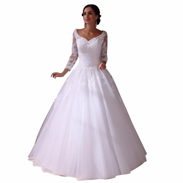 9bbc1ecb090 ZYLLGF Bridal Sheer Back V Neck Wedding Dress Ball Gown High Quality Long  Sleeve Civil Wedding Gown With Appliques TN130