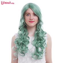 L-email wig Brand New Women Wigs 65cm/25.6inches Colors Blue Orange Yellow Green Curly  Synthetic Hair Perucas Cosplay Wig цена 2017