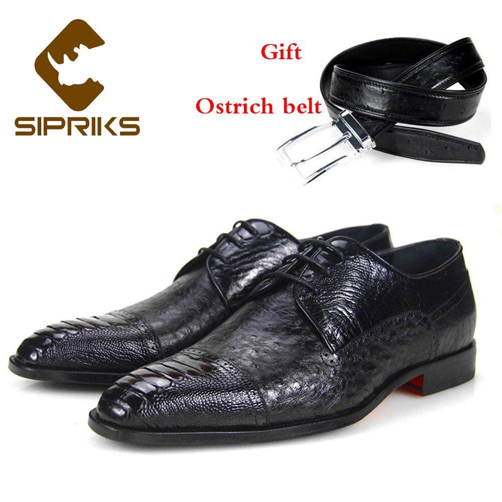 3afcabe3 Sipriks Piel Trajes Zapatos De Marca Negro Lujo Cuero Negocios Avestruz  Iglesia Para Oficina Jefe Hombre ...