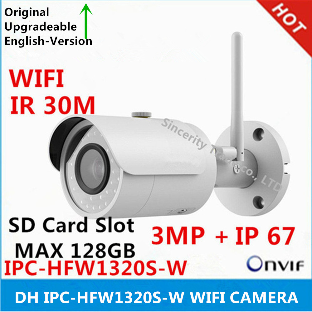 Original DH IPC HFW1320S W 3MP IR30M IP67 built in SD Card slot WIFI camera support