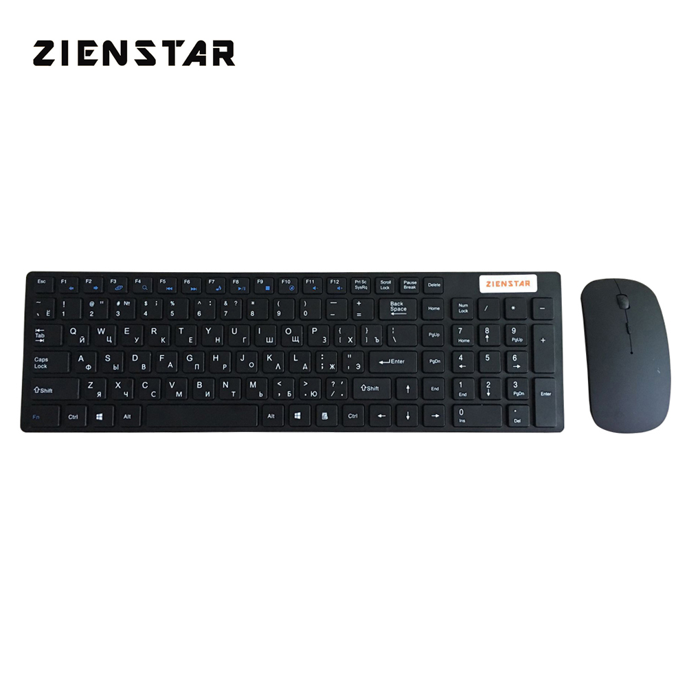 Combo tastiera wireless Zienstar Russian 2.4G con ricevitore USB per desktop, PC, laptop e Smart TV