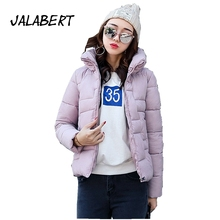 2017 new winter women short loose simple solid full cotton jacket female Stand up collar thickening warm parkas coat