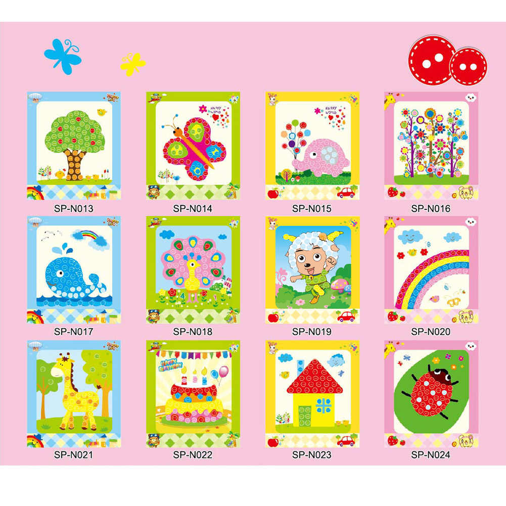 Children student learning educational drawing toys kids child diy button stickers picture handmade painting drawing craft