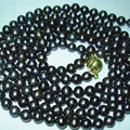 "Wholesale price new fashion 7-8mm natural black Akoya cultured pearl round beads necklace top quality women long chain 50""BV426"