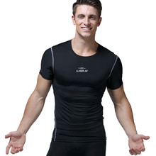 Мужские компрессионные футболки быстросохнущие футбольные майки Спортзал Фитнес Бодибилдинг колготки спортивные футболки топы