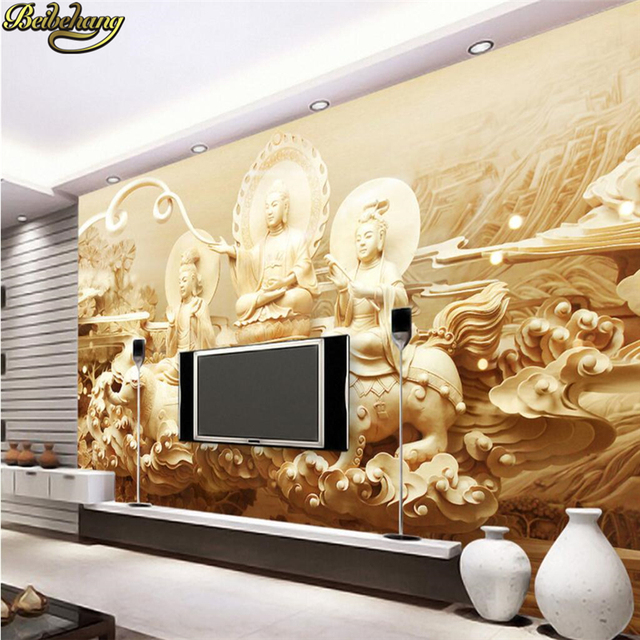 Beibehang Papel De Parede 3d Indian Buddhism Buddha Mural Wallpaper