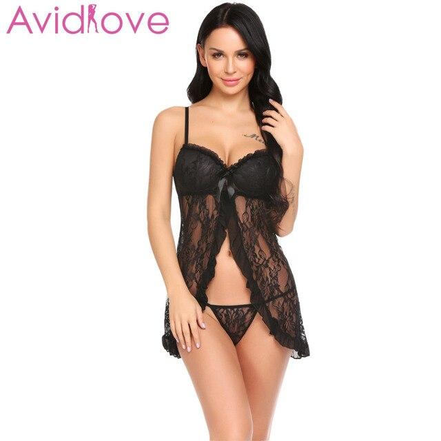 aae13000b Avidlove Sexy Hot Lingerie 2018 Women Sex Baby Doll Dress Padded Split  Front Ruffles Lace Chemise Sleepwear Porn Apparel