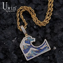 UWIN Sea Wave Cz Pendant Bule Stone Full Iced Out Bling  Micro Paved Copper Material Necklace Chain Fashion Hiphop Jewelry