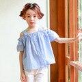 Синий полосатый новорожденных девочек-подростков футболки принцесса с плеча свободные симпатичный подросток рубашки Корейский стиль весна лето осень топы