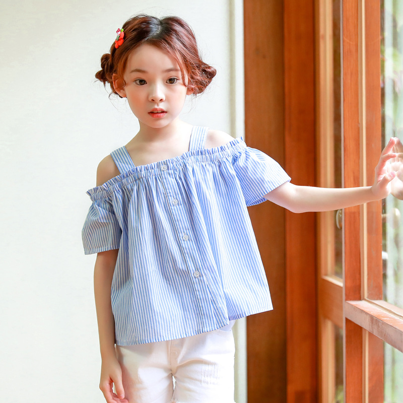Baby Kid Girls Summer Off Shoulder Casual Short Sleeve O-Neck Stripe Dress