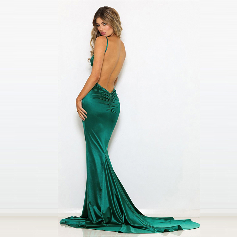 Green Elegant Evening Party Dresses Floor Length Mermaid Dress Backless Bodycon Sexy Sleeveless Open Back Stretchy Dress