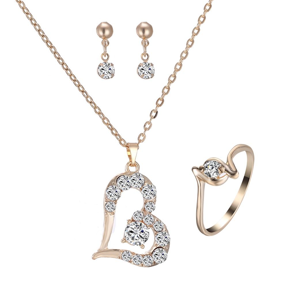 Romantic Heart <font><b>Jewelry</b></font> <font><b>Set</b></font> <font><b>Women</b></font> Heart Necklace earring ring <font><b>Set</b></font> Gold bride wedding <font><b>jewelry</b></font> <font><b>Set</b></font> <font><b>for</b></font> <font><b>women</b></font> Gift image
