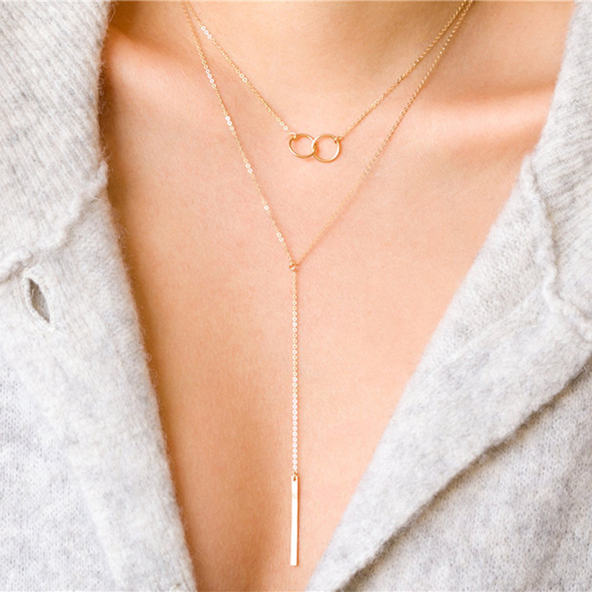 Laramoi 925 Sterling Silver Statement Stick Pendant Lariat Choker Korean Style Simple Design Necklace for Women Girls Ladies