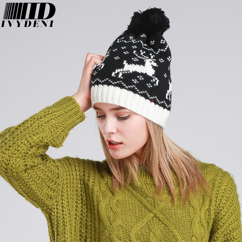 Knitting Patterns Ladies Winter Hats : 2 Styles Can Choose/Hot Sale Deer Pattern Men Young Women ...