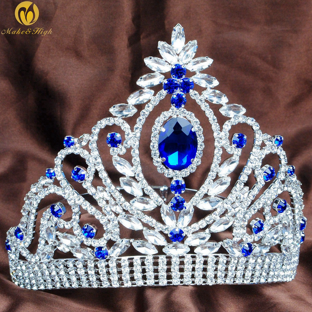 Blue Wedding Bridal Tiara Austrian Rhinestone Crystal Brides Headpiece Beauty Pageant Crown Prom Party Costumes Hairwear peacock star bridal wedding party quality sparkling pageant beauty contest black crystal tall tiara ct1389