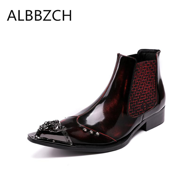 New mens luxury metal rivert design patent leather boots men pointed toe slip on ankle boots western cowboy military boots manNew mens luxury metal rivert design patent leather boots men pointed toe slip on ankle boots western cowboy military boots man
