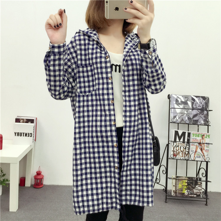 Brand Yan Qing Huan 2018 Spring Long Paragraph Large Size Plaid Shirt Fashion New Women's Casual Loose Long-sleeved Blouse Shirt 16