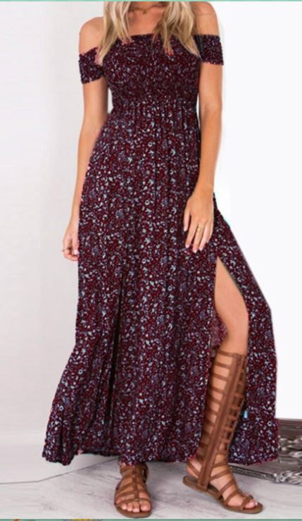 Sexy Strapless Beach Summer Dress Sundresses Vintage Bohemian Maxi Dress Robe Femme Boho Floral Women Split Long Dresses Vestido 3