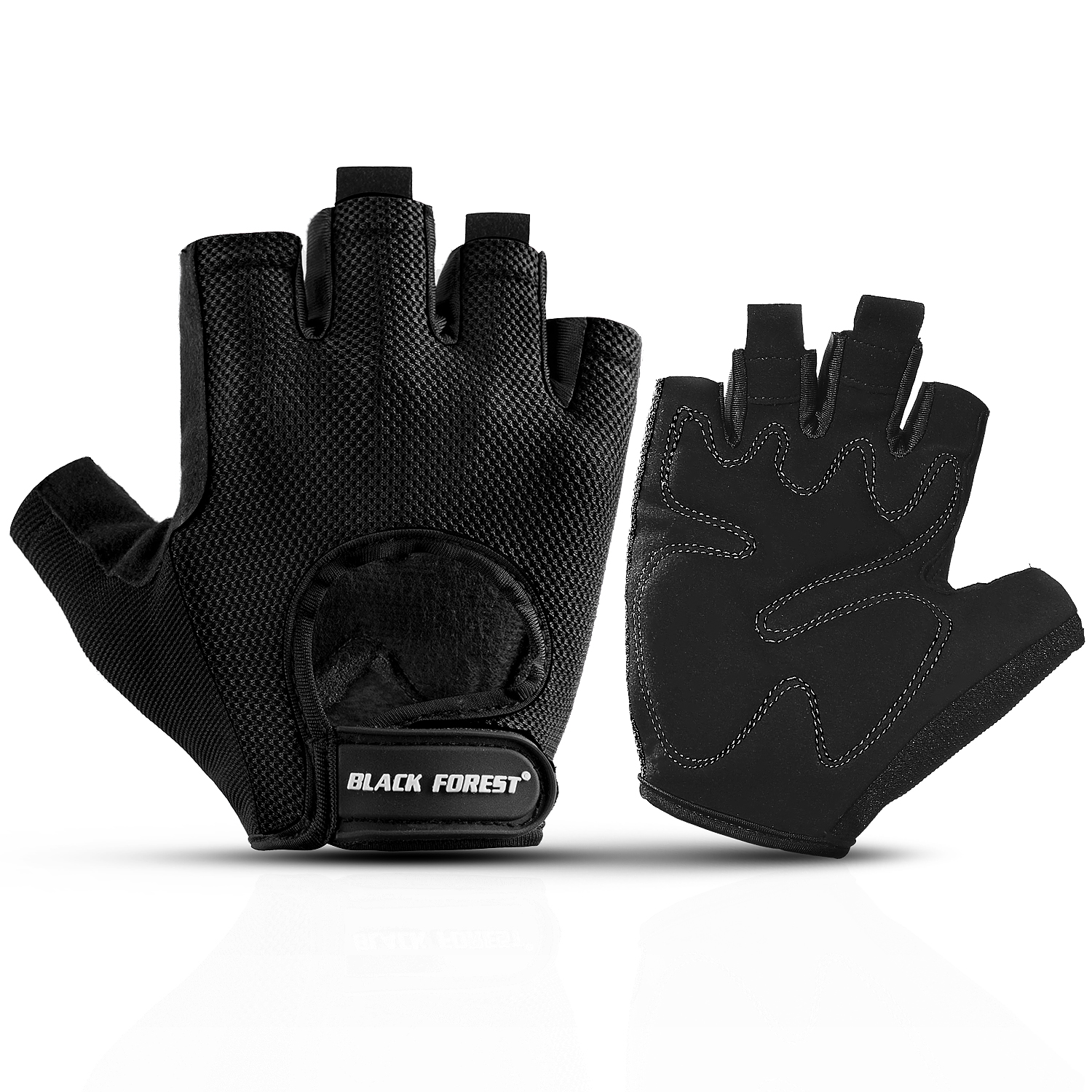 Fingerless Leather Cycle Biker Gym Gloves Cycling Body building weight lifting Black
