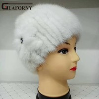 Glaforny 2017 New Fur Hat Winter Women Genuine Mink Fur Hat Flowers decorate Knitted Beanies Fashion Women Fur Caps