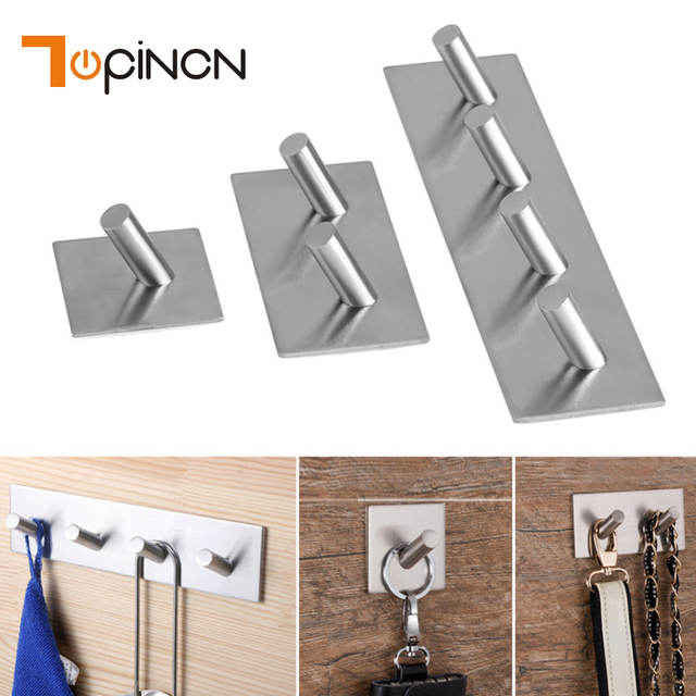 3Meter Sticker Adhesive Stainless Steel Hooks Wall Door Clothes Coat Hanger  Kitchen Bathroom Key Holder Towel