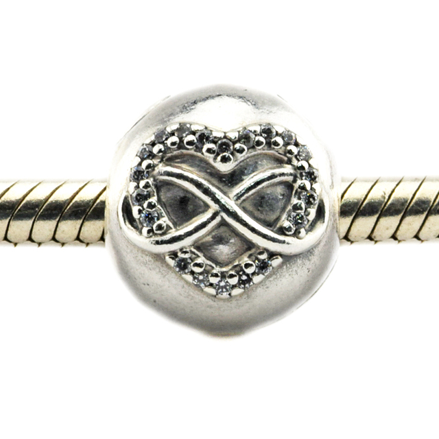 ef10a9218 Fits For Pandora Bracelets Infinity Heart Charms With Clear Cubic Zirconia  100% 925 Sterling Silver