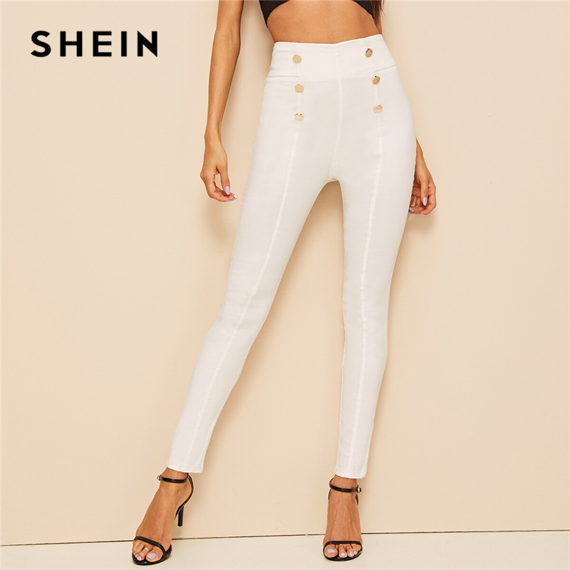 SHEIN Button Embellished Skinny Pencil Pants Elegant Women Summer Autumn Trousers Zip Back High Street Solid High Waist Pants