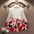 5 шт. / lot жаккард осень длинная рукавами кружево принт платье принцесса ну вечеринку девочка платья девочка одежда 3 - 7 лет
