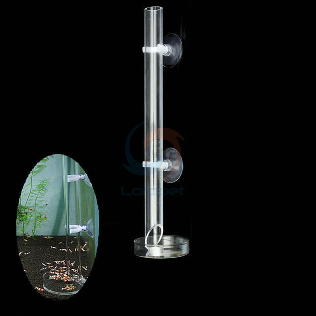 Aquarium Clear Acrylic Suction Tube Glass Dish Bowl Shrimp Feeding Food With 7CM Dish Safe 4 Size