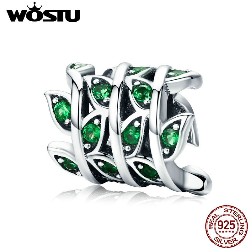 WOSTU Spring New Style 100% 925 Sterling Silver Green Tree Leaves Beads fit Original Charm Bracelet Bangle DIY Jewelry CQC567