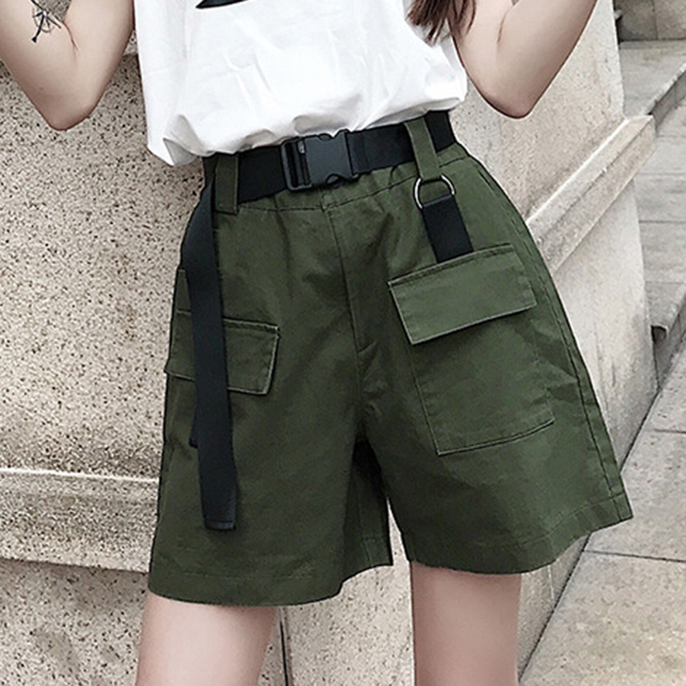 Plus Size Women Summer Shorts With Belt 2019 Fashion Casual Streetwear Cargo Shorts Feminino Army Green Short Femme Short Mujer