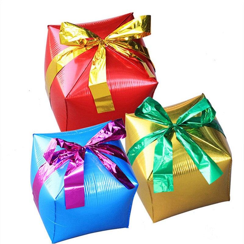 Caixa de presente cubo folha balões decorações de festa de natal balões de casamento balões clássicos brinquedos infláveis balão de hélio