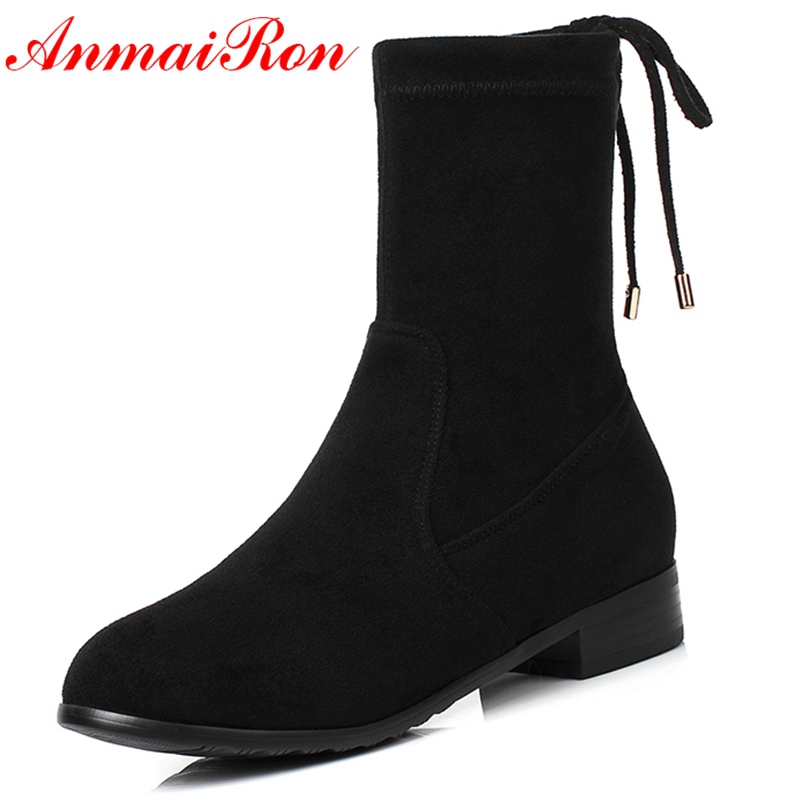 AnmaiRon 2018 mode basique bout rond femmes bottes d'hiver Botas Mujer Invierno bottes bottines femmes taille 34-40 LY158