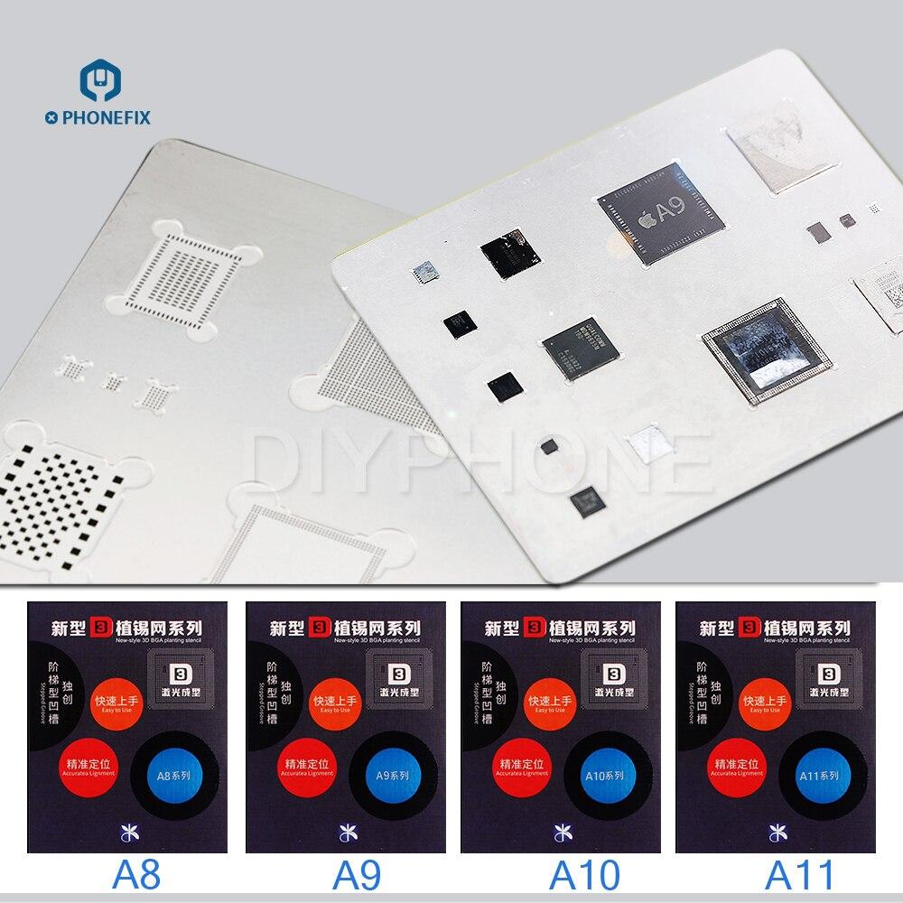 PHONEFIX MJ 3D BGA Reballing Stencils A8 A9 A10 A11 A12 CPU Soldering Repair Tools For iPhone 6 6S 7 8 8PLus X XS bga reballing