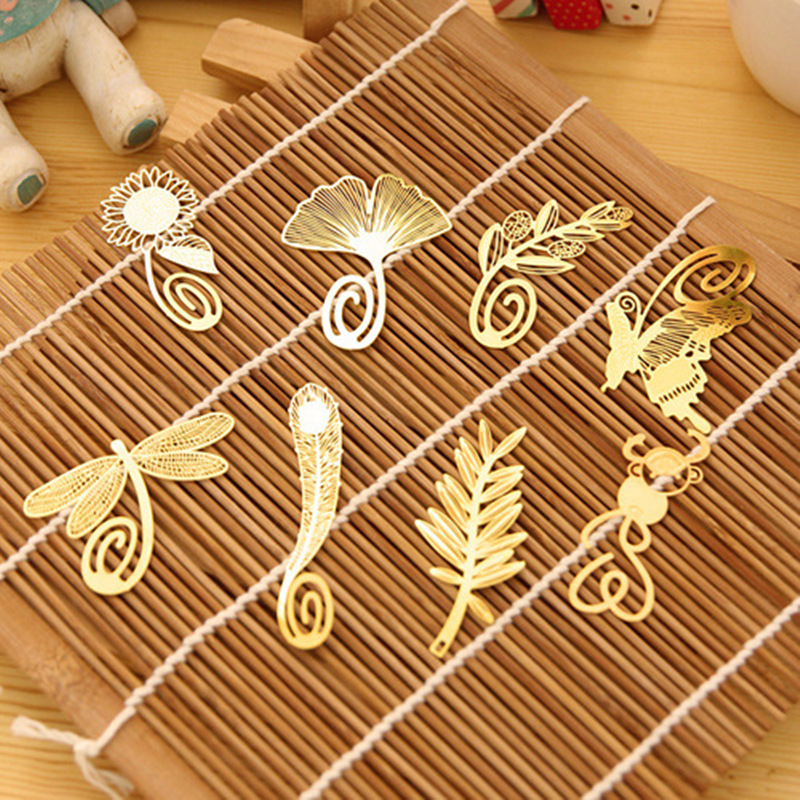 8 Pcs/Lot Gold Metal Bookmarks For Book Vintage Feather Page Clip Stationery Office Accessories Chool Supplies Marcapaginas F409