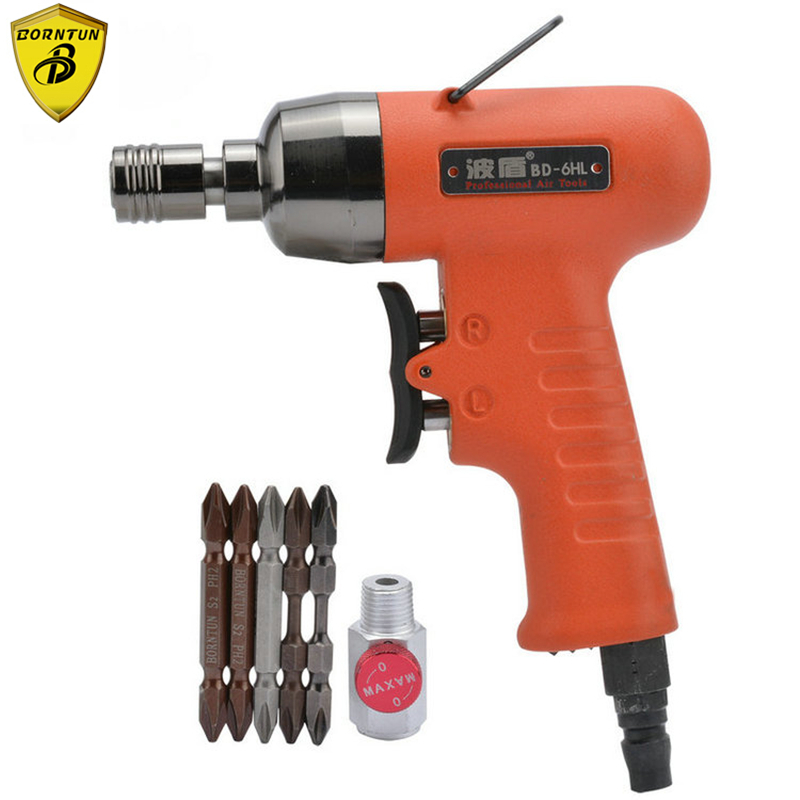 Borntun Pneumatic Air Screwdrivers 4-6mm Pneumatic Air Screwdriver 10000rpm Screw Driving Gun Tool Screwdriving Pistol 40Nm Set