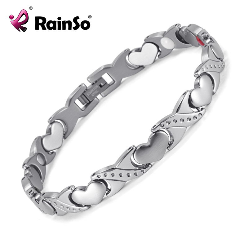 цены на RainSo Titanium Magnetic Bracelet Germanium Negative Ion FIR Romantic Style Gift Women Men Bracelets