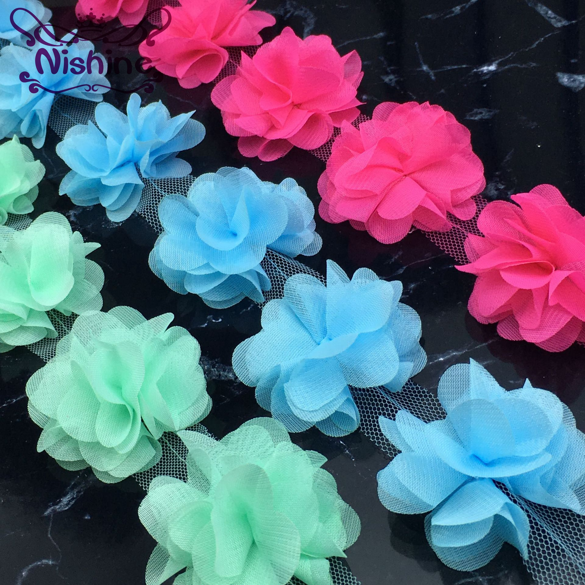 NISHINE 1 Yard 18 Colors Chiffon 3D Lace Flowers 6 Petals Flower For Handmade Children Headband Diy Clothing Hair Accessories