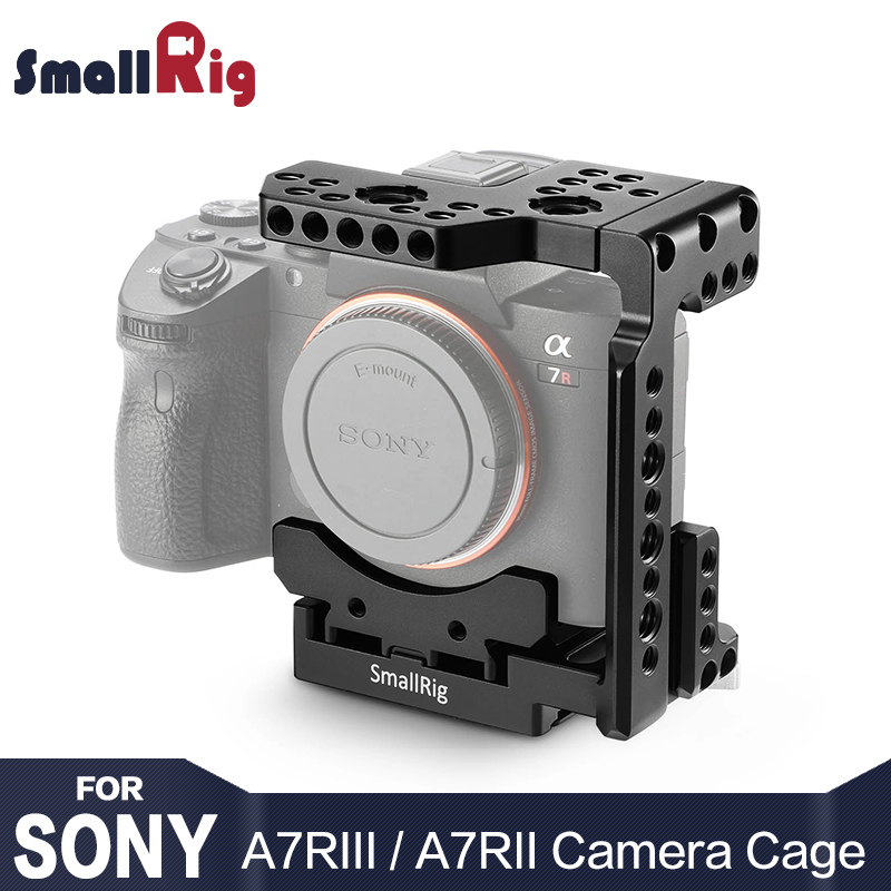 SmallRig A7riii Quick Release Half Cage for Sony A7R III / A7 III / A7 II /A7R II/A7S II with Nato Rail Arri Locating Holes 2098 godox tt600s flash speedlite for sony multi interface mi shoe cameras a7 a7s a7r a7 ii a6300 etc