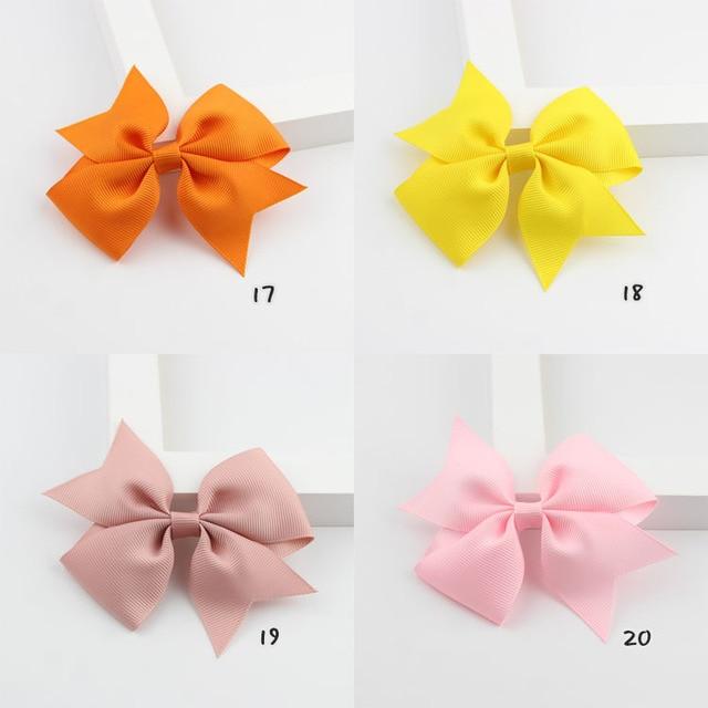 Cute 20 Colors Solid Grosgrain Ribbon Bows Clips Hairpin Girl's hair bows Boutique Hair Clip Headware Kids Hair Accessories