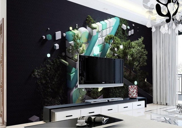 Custom 3d luxury wall paper Modern interior leaves abstract ...