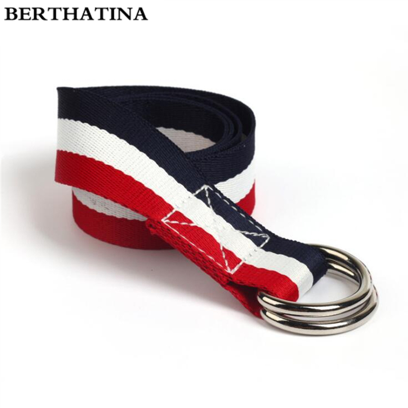 BERTHATINA Double D Buckle Belt Korean Style Male Female Striped Canvas Belts Cummerbunds Casual Outdoor Men Women Waist Belt