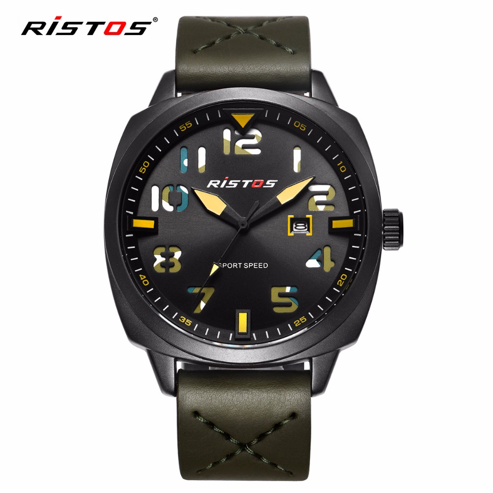Fashion RISTOS Men Quartz Analog Watch Army style Leather Watches Reloj Masculino Hombre Man Fashion Sport Military Design 9351 ot03 hot sale fashion military pilot aviator army style canvas band quartz analog outdoor sport men watch