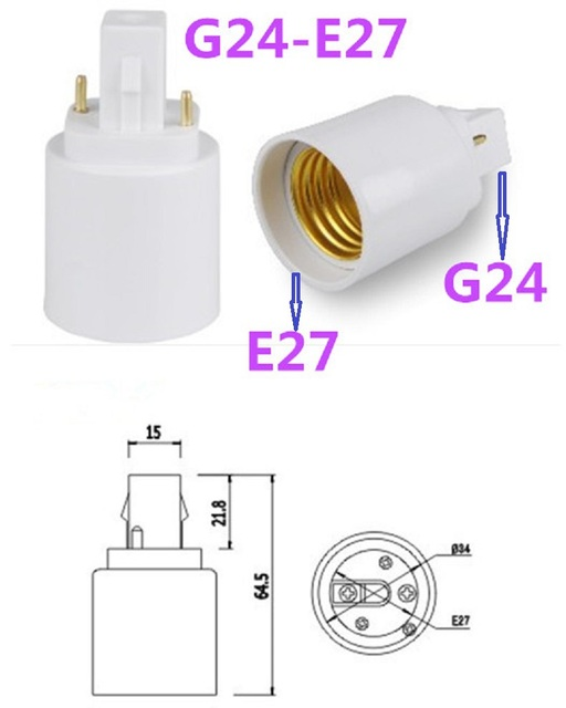 US $200 20 OFF20pcs LED G24 to E27 Base G24 E27 Light Bulb Lamp Holder  Adapter convert E27 LED bulb to G24 base Socket Adapter high quality-in  Lamp
