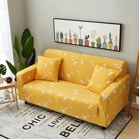 Yellow Universal Stretch Furniture Covers For Living Room Single Double Three Four Seat Sofa Slipcover For