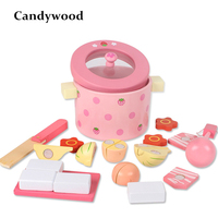 Kids Kitchen Toys Mother Garden Strawberry Simulation Vegetable Hot Pot Kitchen Prentend Play Food Set Wooden Toy for Girls Gift