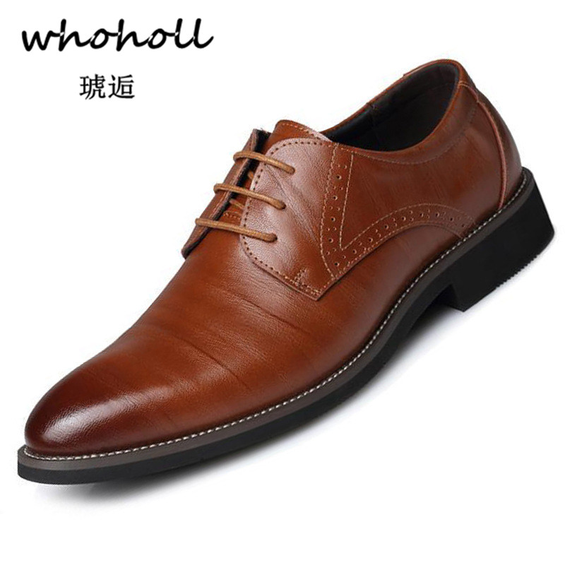 Whoholl Men Dress Shoes Floral Pattern Formal Leather Luxury Fashion Groom Wedding Oxford 38-48