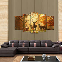 5 Panel Wall Art,The deer,Painting Pictures Print On Canvas,The Picture For Home Modern Decoration 5 pieces a set with framed(China)