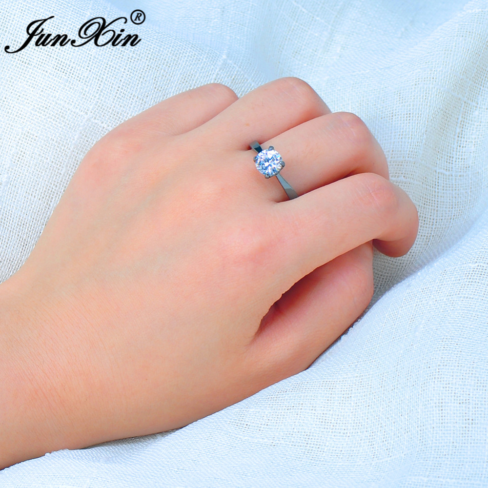 JUNXIN Women White Engagement Ring Black Gold Simulated CZ Vintage ...
