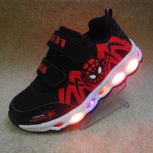 boys Cartoon sneakers with lights autumn winter new LED fashion children kids